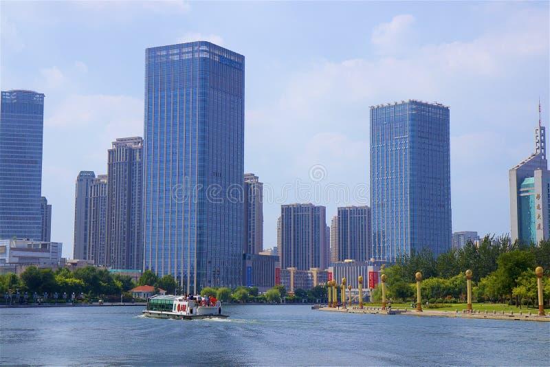 Promenade in Tianjin, China stock afbeeldingen