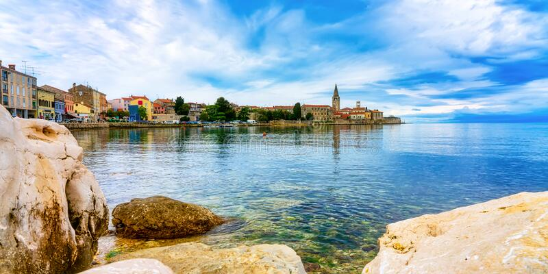 View to the city of Porec on a beautiful summer day, Croatia. Promenade and view to the city of Porec on a beautiful summer day, Croatia stock images
