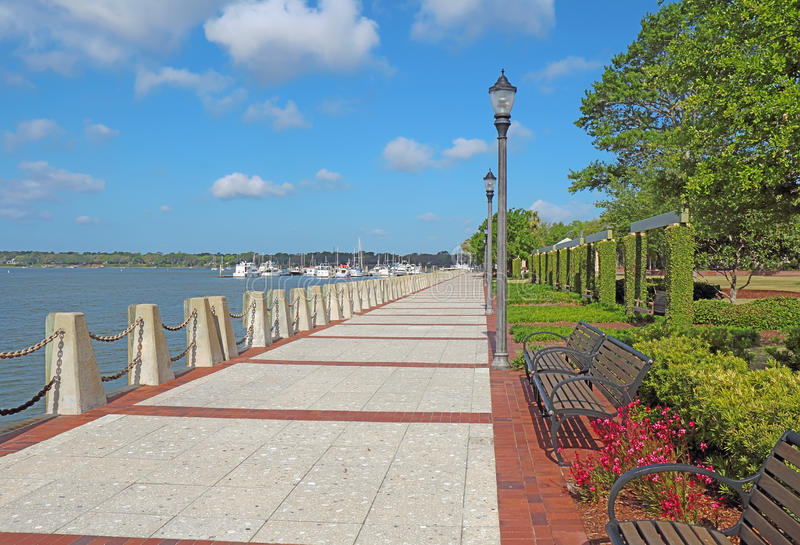 Promenade on the waterfront of Beaufort, South Carolina royalty free stock image