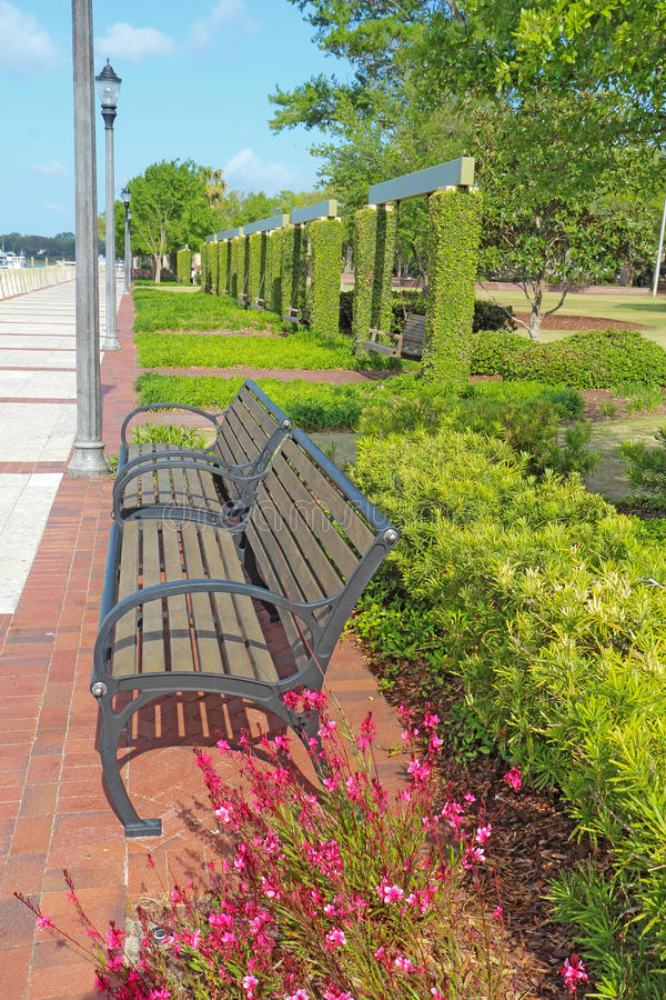 Promenade at the waterfront of Beaufort, South Carolina vertical royalty free stock photo