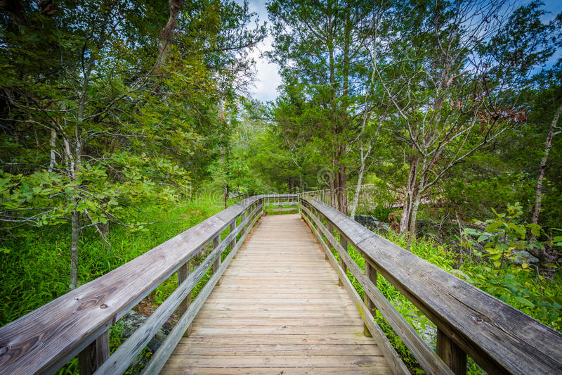 Promenadenspur auf Olmsted-Insel an Great Falls, am Chesapeake u. an O lizenzfreies stockfoto