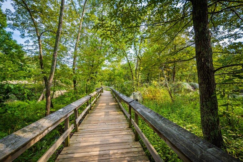 Promenadenspur auf Olmsted-Insel an Great Falls, am Chesapeake u. an O stockbild