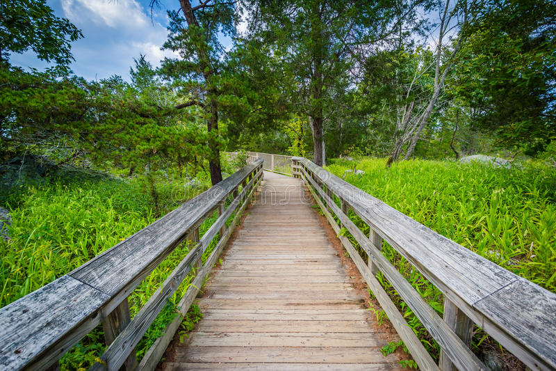 Promenadenspur auf Olmsted-Insel an Great Falls, am Chesapeake u. an O stockfotos
