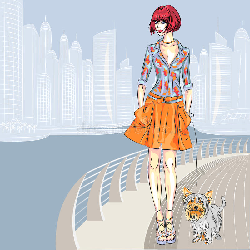 Promenerar den härliga flickan för vektorn med hunden stranden stock illustrationer
