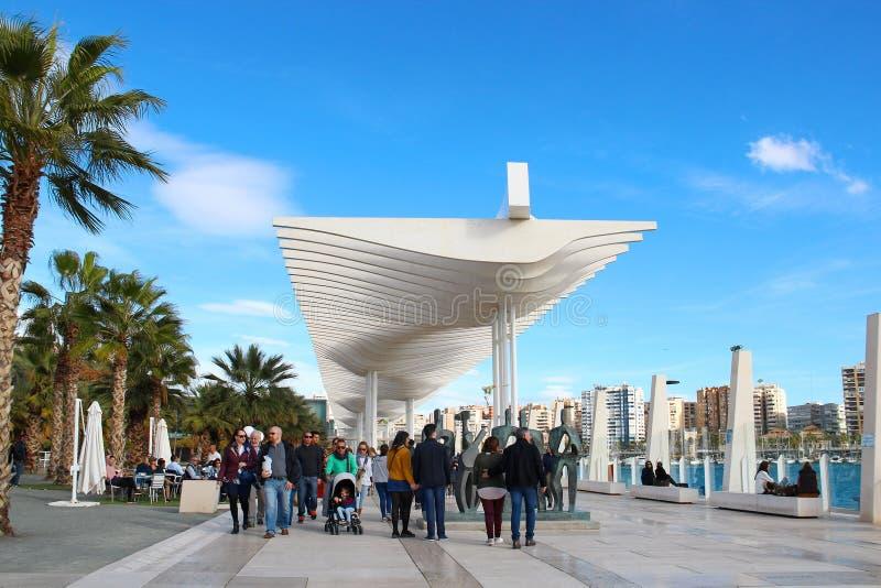 Promenieren Sie im Hafen von Màlaga, Spanien lizenzfreies stockbild