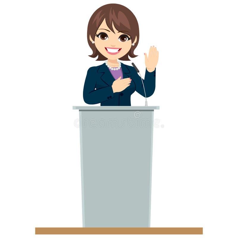 Promesse de Woman Podium Oath de politicien illustration stock