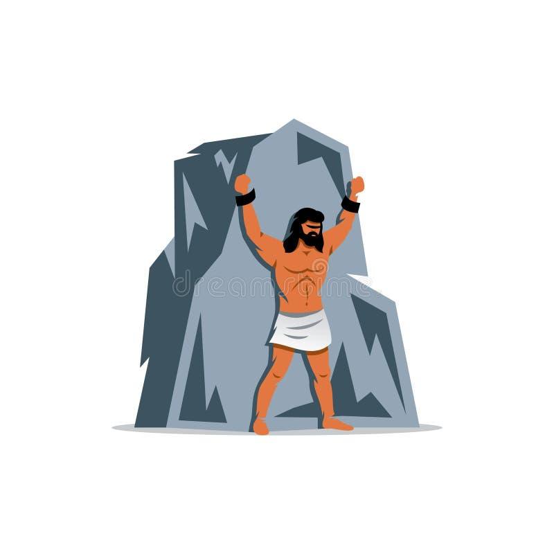 Prometheus na skale W Greckiej mitologii, titan, obrońca ludzie od tyrania bóg również zwrócić corel ilustracji wektora royalty ilustracja