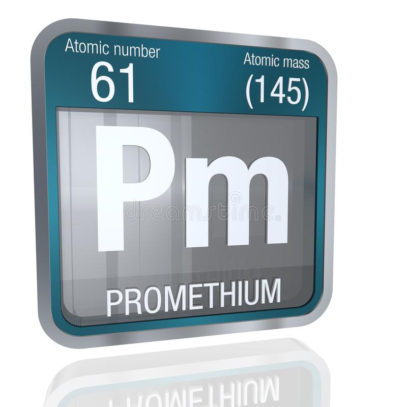 Promethium symbol in square shape with metallic border and transparent background with reflection on the floor. 3D render. stock illustration