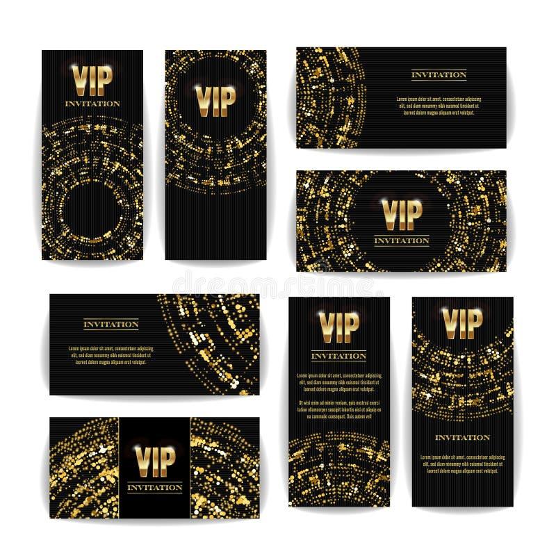 Promi Einladungs-Karten-Vektor-Satz Partei-erstklassiger leerer Plakat-Flieger Schwarze goldene Design-Schablone Dekorativer vekt lizenzfreie abbildung