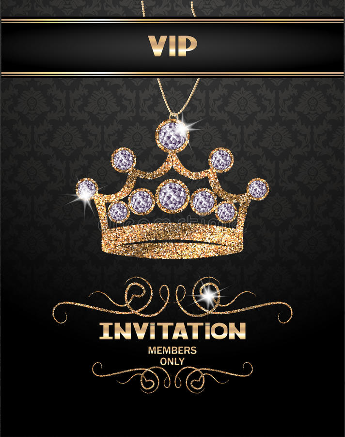 Promi-Einladungskarte mit abstrakter funkelnder Krone mit Diamanten vektor abbildung