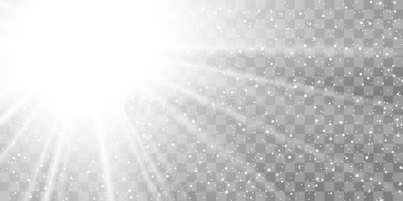 Promień światła wyizolowany na przezroczystym tle Efekt rozbłysku jasnego słońca Blask błyszczący Biały gradient ilustracja wektor