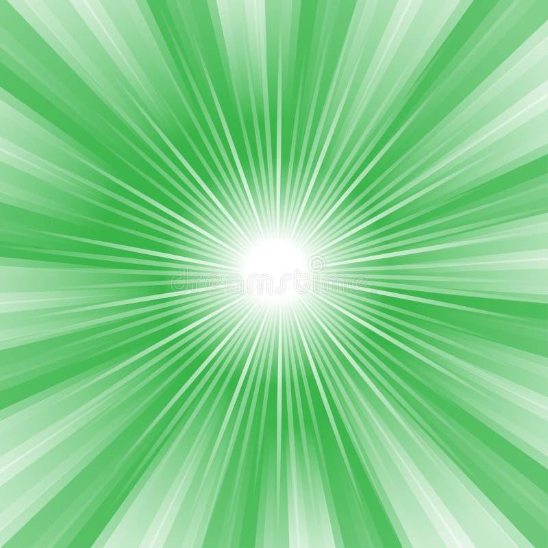 Promień Paskujący wzór z zielone światło wybuchu lampasami Abstrakcjonistyczny tapetowy tło Wektorowa rocznik ilustracja royalty ilustracja