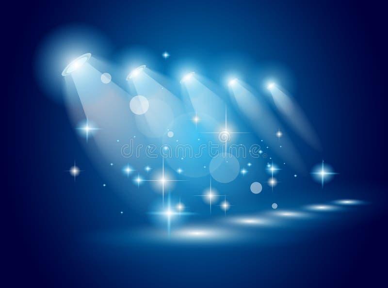 promieni błękitny magiczni światło reflektorów ilustracji