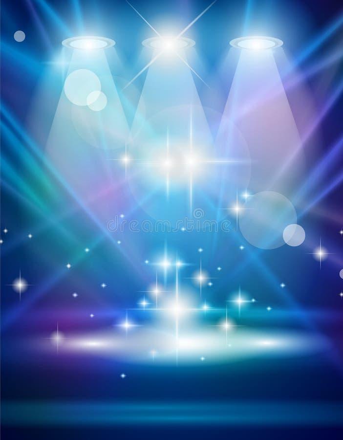 promieni błękitny magiczni światło reflektorów ilustracja wektor