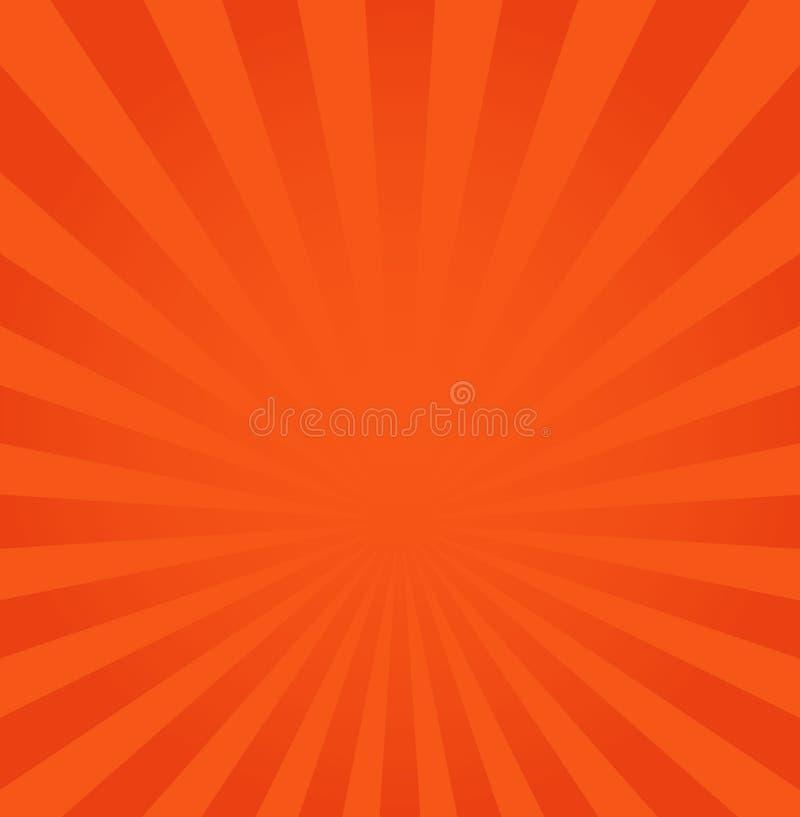 Promienia tła wektorowa ilustracja, pomarańcze lub czerwień promień od, royalty ilustracja