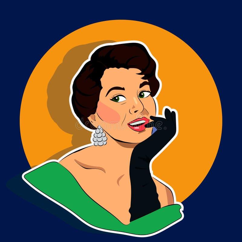 Promieniejąca kobieta - Retro klamerki sztuka ilustracja wektor