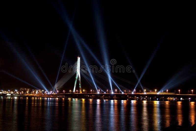promieniejący festiwalu światła Riga staro obrazy royalty free