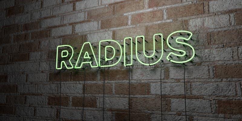 PROMIENIOMIERZ - Rozjarzony Neonowy znak na kamieniarki ścianie - 3D odpłacająca się królewskości bezpłatna akcyjna ilustracja royalty ilustracja