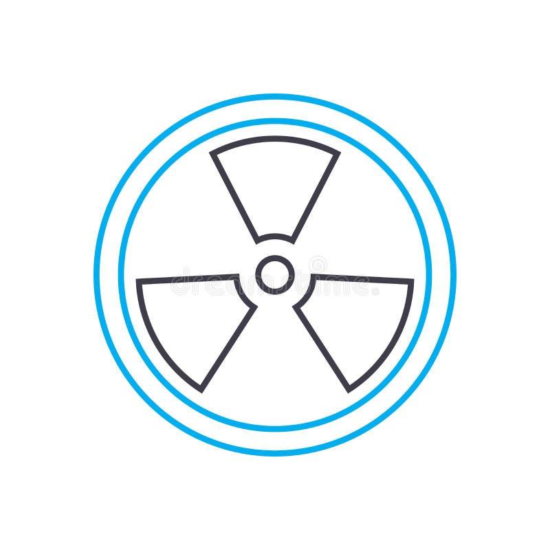 Promieniotwórczego analiza wektoru uderzenia cienka kreskowa ikona Promieniotwórcza analiza konturu ilustracja, liniowy znak, sym ilustracji