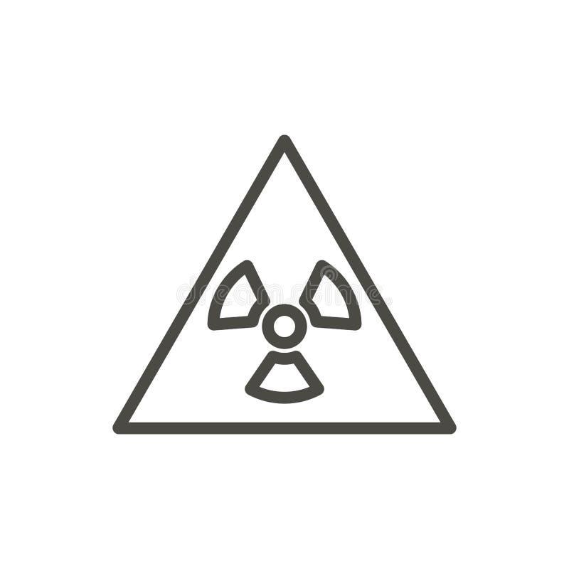 Promieniotwórczy ostrzegawczy ikona wektor Kreskowy toksyczny symbol odizolowywający Tre royalty ilustracja