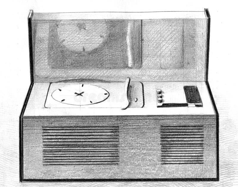 Promieniowa ręka rysująca rocznik ilustracja ilustracji