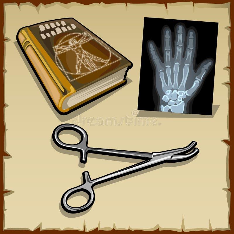 Promieniowania rentgenowskie wręczają, medyczna książka i chirurgicznie instrument ilustracja wektor