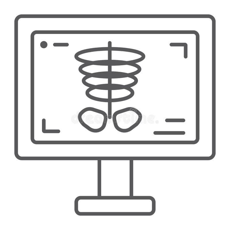 Promieniowanie rentgenowskie cienka kreskowa ikona, medycyna i kość, kośca znak, wektorowe grafika, liniowy wzór na białym tle ilustracja wektor