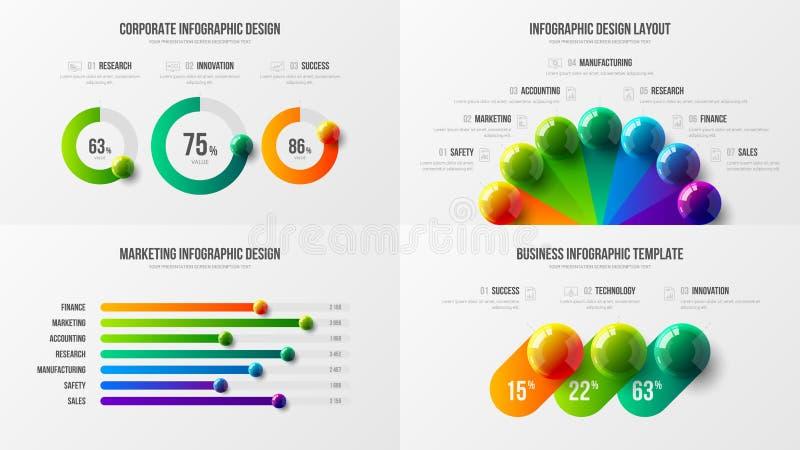 Promieniowy bar i horyzontalny prętowej mapy marketingowych analityka wektorowy ilustracyjny szablon wiążemy ilustracja wektor