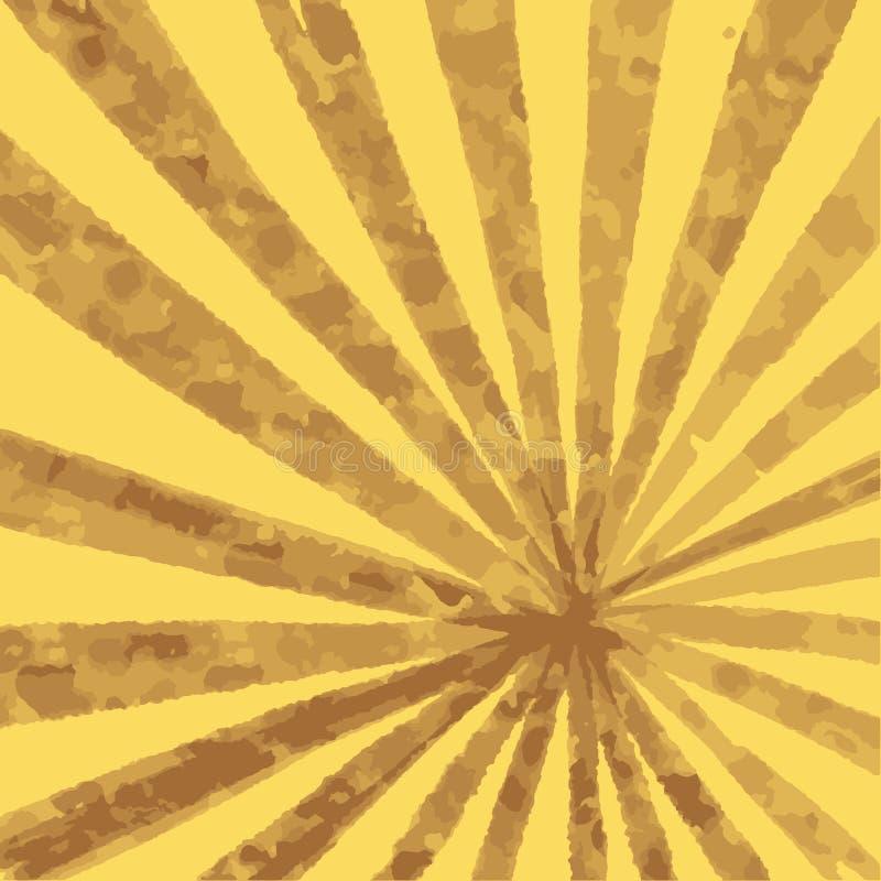 Promieniowy koloru żółtego i brązu tło z promieniami perspektywa royalty ilustracja