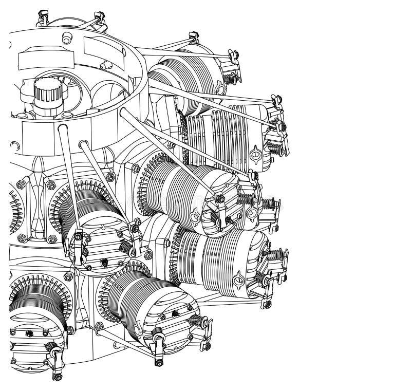 Promieniowy silnik na bielu ilustracji