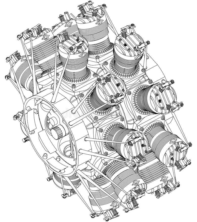 Promieniowy silnik na bielu royalty ilustracja
