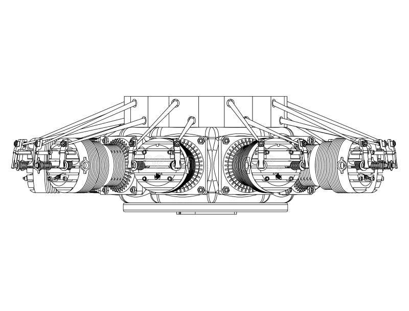 Promieniowy silnik na bielu ilustracja wektor