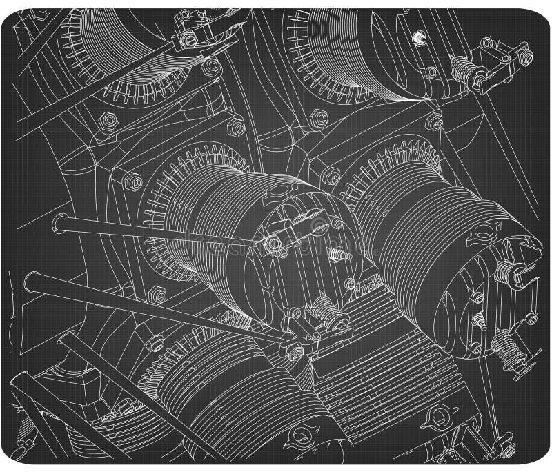 Promieniowy silnik na szarości royalty ilustracja