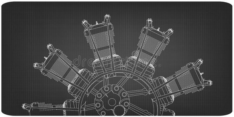 Promieniowy silnik na szarości ilustracja wektor