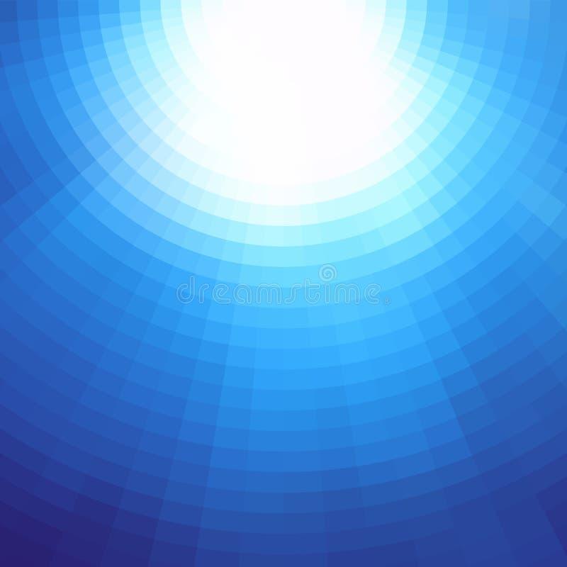 Promieniowy tło projekt Abstrakcjonistyczny błękitny wektorowy sztuka wzór Graficzny element, gradientowa podwodna ilustracja royalty ilustracja