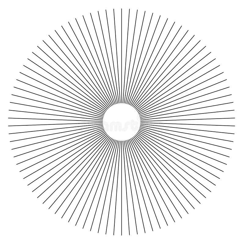 Promieniowych linii abstrakcjonistyczny geometryczny element Szprychy, promieniuje pasek royalty ilustracja