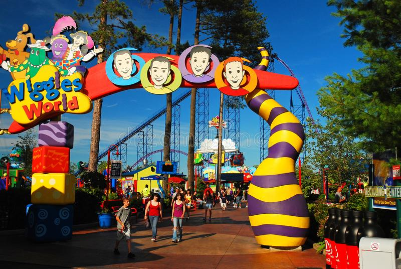 The Wiggles area at an amusement park. A prominent children`s group, the Wiggles, lends their likeness to an amusement park area stock photos