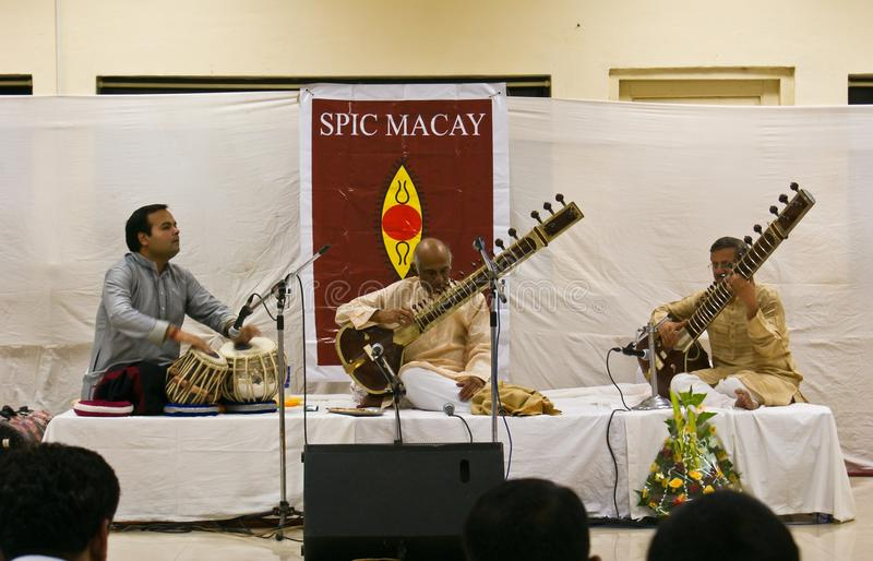 Prominent Indian musician playing Sitar live stock images