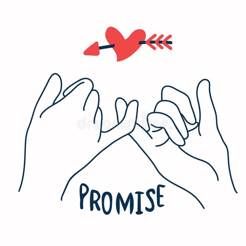 Free Promise  Outline Vector With Red Heart In Arrow Royalty Free Stock Photo - 178050075
