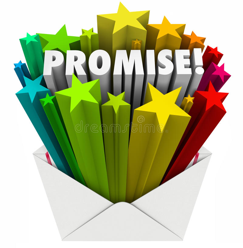 Promise Word Guarantee Oath Vow Pledge Obligation Note in Envelope. Promise word in an envelope to illustrate an oath, guarantee, vow, pledge or obligation to vector illustration