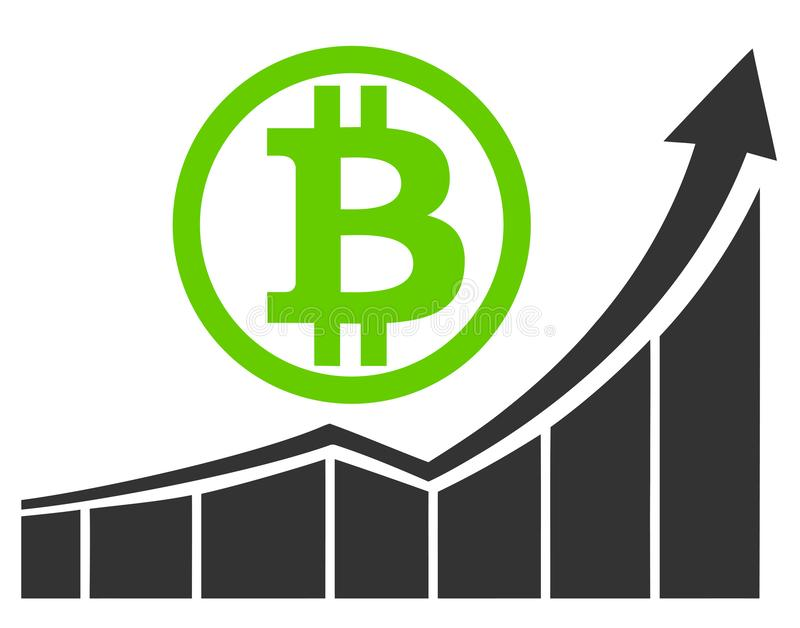 Bull market for Bitcoin. Promising investments for the future in crypto currencies royalty free illustration