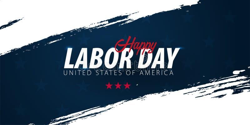 Promoção de venda do Dia do Trabalhador, propaganda, cartaz, bandeira, molde com bandeira americana Papel de parede americano do  ilustração royalty free