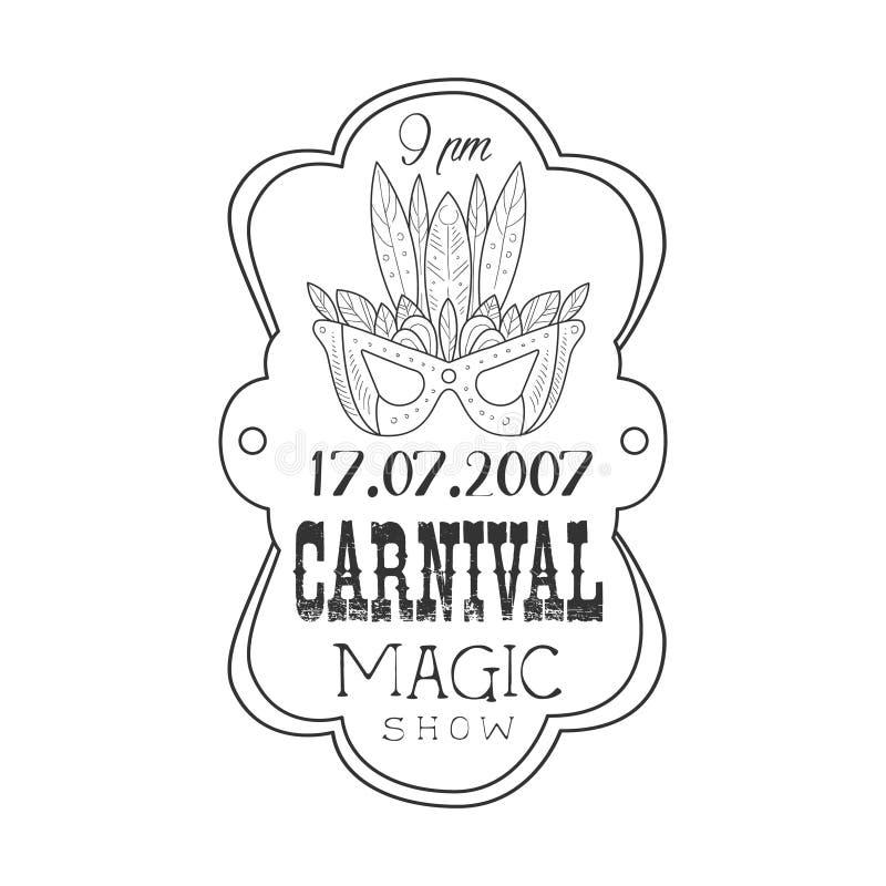 A promoção monocromática tirada mão de Mardi Gras Magic Carnival Vintage assina dentro o estilo do esboço do lápis com texto cali ilustração royalty free