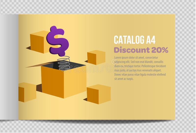Promoção rápida da ilustração da folha do catálogo A4 do vetor ilustração royalty free