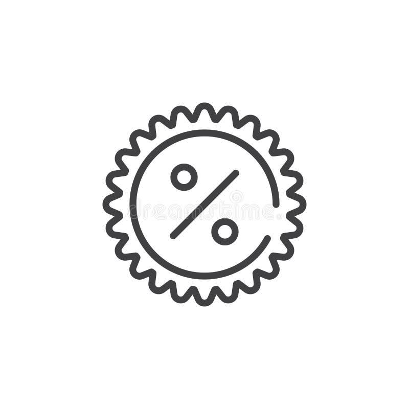Promoções com linha de etiqueta ícone dos por cento ilustração stock