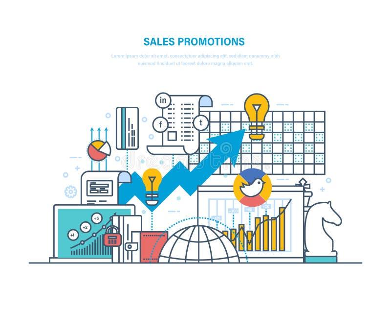 Promoções de vendas Escolha de objetivos, estudos de mercado, mercado, planeamento empresarial e análise ilustração royalty free