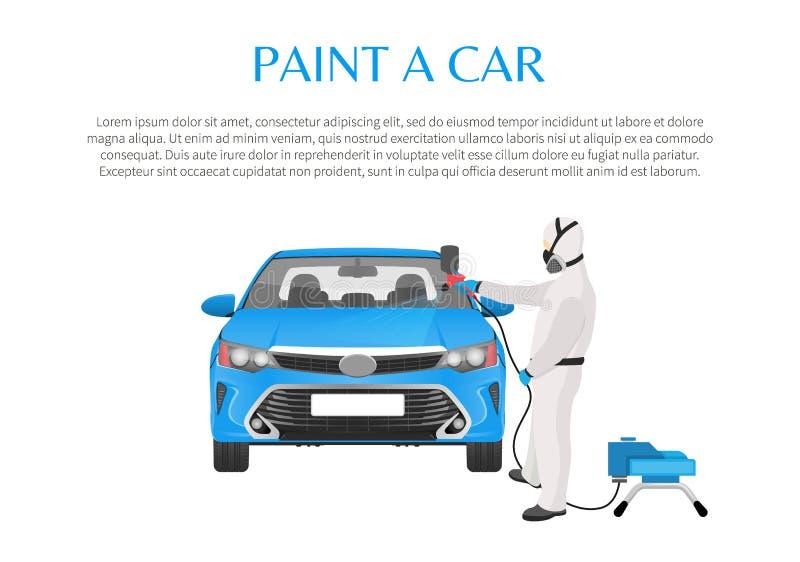 Promo краски автомобиля с человеком в защитной одежде бесплатная иллюстрация