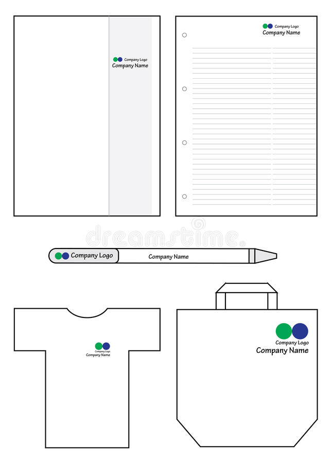 Promo articles for company. Conference articles promo set with space for logo file. Test and colors can be changed in additional format royalty free illustration