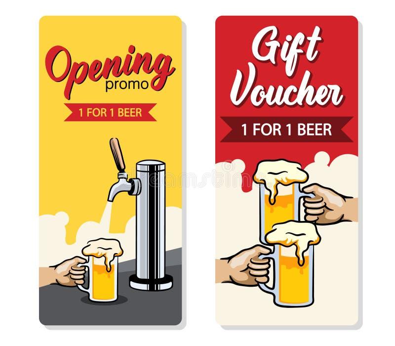 Promo Beer Gift Voucher. Promo design of free beer voucher royalty free illustration