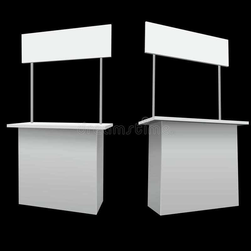 Promo booth. Blank white promo booth template stock illustration